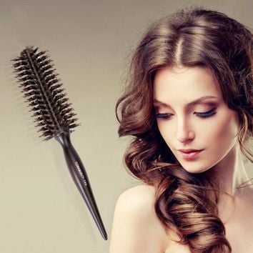 Portable Hair Comb Brush Natural Bristle Anti-static Curly Wood Handle Hair Care Styling Comb Radial Brush Hairdressing Tool A4