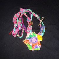 BoHo Fabric Necklace / Hippie / Chic / Textile Necklace / Multicolored / OOAK / Funky Flower