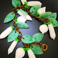 Czech Floral Glass Charm Bracelet, Green White Art Deco, Vintage