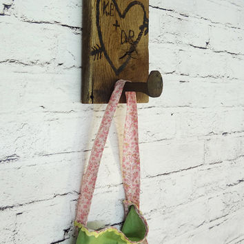 Rustic Style Railroad Spike Wall Hook Personalize