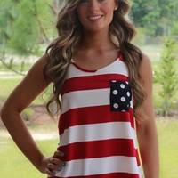 America Tank Top: Red/White/Navy - Lavish Boutique