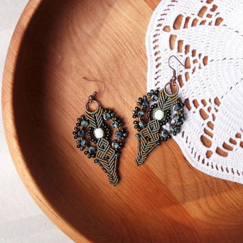 Micro macrame earrings - Olive green Black Rustic Boho Unique