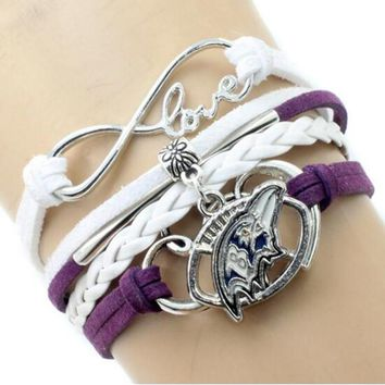 Infinity Love Baltimore Ravens Multi-Strand Bracelet Football Team Charm Bracelets & Bangles Sport Women Men Jewelry 6PCS