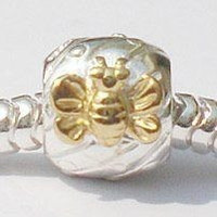 European Charm Sterling Silver Bead Gold Dragonfly