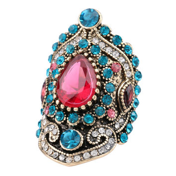 Exotic Turkish Mosaic Style CZ Sapphire Ruby Resin Fashion Rings