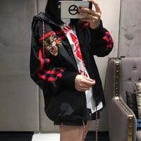"""Gucci"" Women Personality Multicolor Stripe Tiger Head Embroidery Zip Cardigan Loose Long Sleeve Hooded Windbreaker Coat"