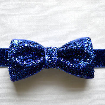 Blue Glitter Bow Headband. Girls Hair Accessories, Glitter Elastic Headband, Blue Bow Headband. Sparkle Headband, Adult, Teen, Baby Girl