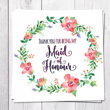 Maid Of Honour Thank You Card, Thank You For Being My Maid Of Honour, Flower Wreath, Wedding, Boho, Bohemian Wedding, Flower Thank You Card