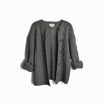 Vintage Gray Cable Knit Cardigan / Pringle of Scotland Shetland Wool Cardigan - women's large