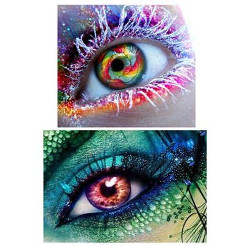 Colorful Eye 5D DIY Full Diamond Canvas Embroidery Painting Cross Stitch Decor