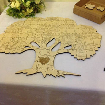 Wooden Wedding Guest Book Guestbook Puzzle Jigsaw Tree Of Life Sample
