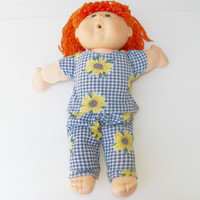 """Cabbage Patch 16"""" KIDS Doll Clothes & Bitty Baby Blue Flower Pajamas pj handmade"""