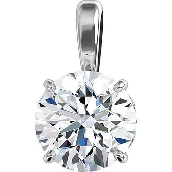Round Moissanite 4 Prong Wire Basket Classic Pendant
