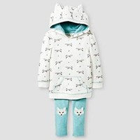 Baby Girls' Wolf Set Hoodie & Wolf Set Legging Cream/Wolf Print/Aqua - Genuine Kids from Oshkosh™ : Target