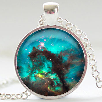 Nebula Necklace, Space Galaxy Art Pendant,  Nebula Jewelry, Universe Stars Gift for Him or for Her (312)