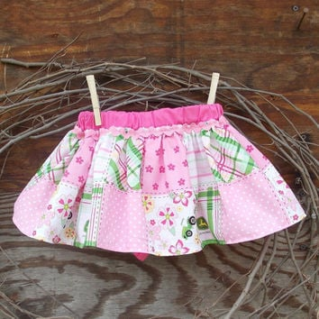 Baby Bloomers, skirted, diaper cover,Spring, Pink, Photo Prop size 12  months, Tractor