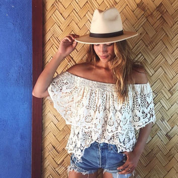 White Crochet Off Shoulder Strapless Blouse