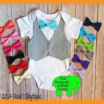 3081f37afb60 Baby Boy Clothes - Cake Smash Outfit - Vest Bow Tie - Cute Baby