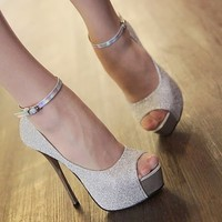 Women's High Heels Stilettos Platforms Shoes Sandals Opened Toe Ankle Strap 1nF
