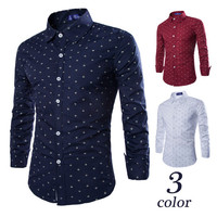 Men Slim Fit Dress Shirt In Anchor