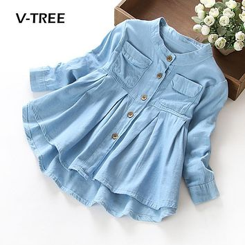 V-TREE girls dress 2-10 years teenage girls denim dress kids spring long sleeve A-line dress children baby clothes