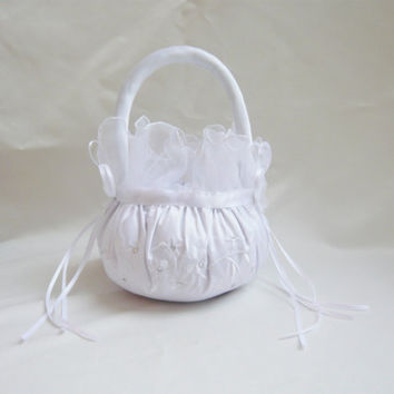 Wedding Basket WHITE or IVORY Satin Beautiful Flower Girl