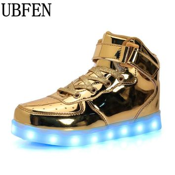 Big size 35-46 light up luminous casual men led shoes high glowing with charge simulation sole male shoes for adults neon basket