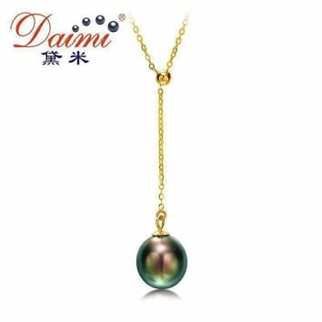 DAIMI 9-10mm Natural Black Tahitian Pearl Pendant 18k Yellow Gold Pendant Necklace christmas gifts for women