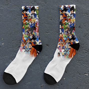 dragon ball z super characters collage saiyan cartoon nostalgia childhood crew socks  bape cool streetwear men