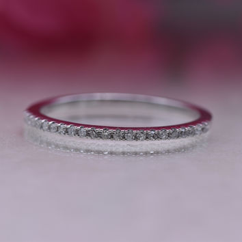0.08 Carats 10k Gold Round White Diamond Ladies Dainty Anniversary Wedding Band Stackable Ring