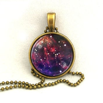 10 SALE Necklace Purple Galaxy Jewelry Universe by timegemstone