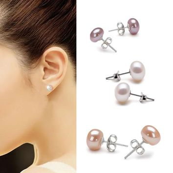 New Arrival Fine Jewelry Lady Silver Plated Ear Stud Earrings White Pink Purple