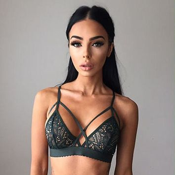 Sexy Women  Floral Lace Bralette Bra Bustier Crop Top Sheer Soft Mesh Triangle