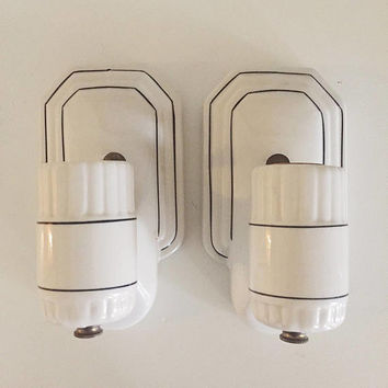 Vintage Art Deco Porcelain Sconce Pair -- White with Black Pinstripe -- Bathroom Lighting, Transitional or Mid-Century, Tile