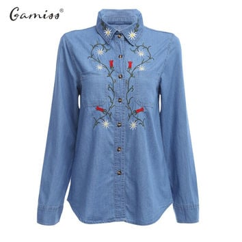 Gamiss New Casual Floral Embroidered Women Denim Blouse Shirt Vintage Long Sleeve Jeans Tops office Blouses Lady Blusas Feminino