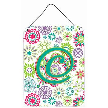 Letter C Flowers Pink Teal Green Initial Wall or Door Hanging Prints CJ2011-CDS1216