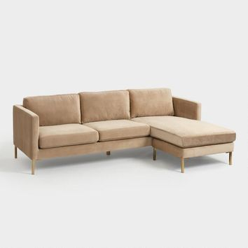 Camel Caitlin Sectional Sofa with Chaise