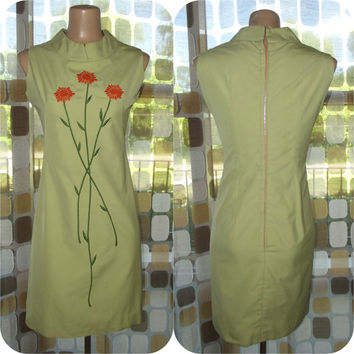 Vintage 60s Dress | 1960s MOD Dress | Embroidered Orange Sunflowers | Metal Zipper | A-line Mini Scooter Girl | Size M/L