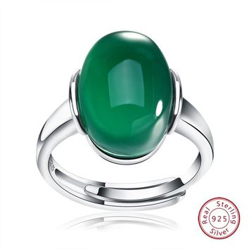 925 Sterling Silver Women Rings With Classic Green Red Agate Natural Stone Finger Ring Silver Jewelry