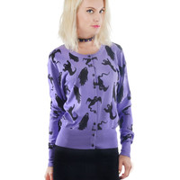 Rat Baby Button Up Purple Cardigan Black Ghost Print punk