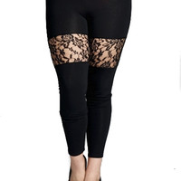 Plus Size Black Lace Thigh Panel Leggings