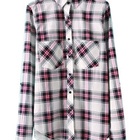 Multicolor Plaid Pocket Long Sleeve Shirt