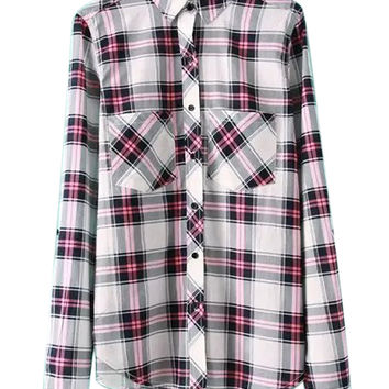 Multicolor Plaid Pocket Long Sleeve Pointed Flat Collar Blouse