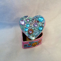 Festive Gift Box, Heart Shaped, Blue and Pink, Floral Design, Handpainted, 2 x 2 inches, Gift for her, Perfect Ring Box,, Rhinestones