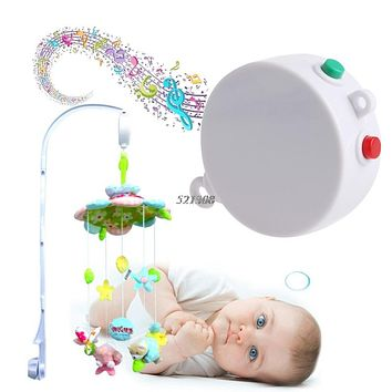 12 Melodies Song Kids Mobile Crib Bed Bell Electric Auto rotation Music Box