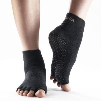 ToeSox Half Toe Yoga/Pilates Toe Socks With Grips, Black, Medium