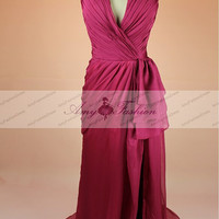 Sexy Burgundy Prom Dress Evening Dress High Thigh Slit Long Chiffon Prom Dress Custom Made Wine Color Plus Size Formal Evening Gown
