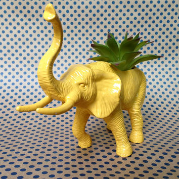 Elephant Planter - Up-cycled Painted Toy Elephant - Elephant Vase - Succulent Planter - Yellow Elephant Planter