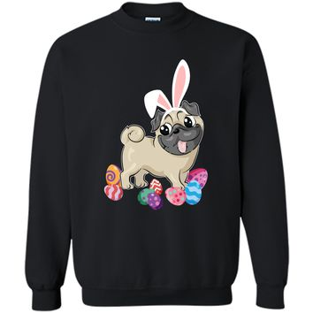 Cute Pug Dog With Bunny Hat Easter Eggs T-Shirt Happy Printed Crewneck Pullover Sweatshirt 8 oz