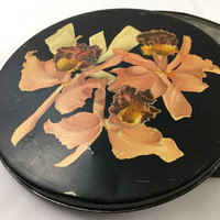 "1930's Helen Harrison's ""Orchid Box"" Black Floral Round Decorative Tin Box Coral Pink Orchids Metal Storage Vintage Chocolate Candies Tin"